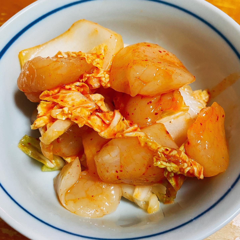 冷凍の生ホタテと白菜のキムチ漬けを作ってみた。おいしい!