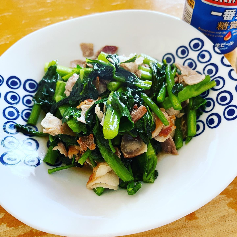 子どもの頃は、実家で栽培していても大嫌いだったつるむらさきを、豚肉と炒めました。つるむらさきは、福島県産です。作り置きの山椒きゅうりと一緒に昼ビールしました。#一番搾り糖質ゼロ #一番搾り #つるむらさき #つるむらさきレシピ #豚肉レシピ #山椒きゅうり #昼ビール #ビール #糖質制限ダイエット #糖質制限レシピ #糖質制限 #糖質オフレシピ #糖質オフダイエット #糖質オフ #糖質off #糖質offアドバイザー #手料理 #手料理グラム#福島県産 #jaふくしま未来